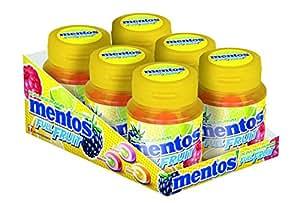 Mentos Kaugummi Full Fruit   Zuckerfrei in den Sorten Orange-Zitrone, Himbeere-Kiwi und Waldfrucht-Limette   6er Box Kaugummi-Dragees