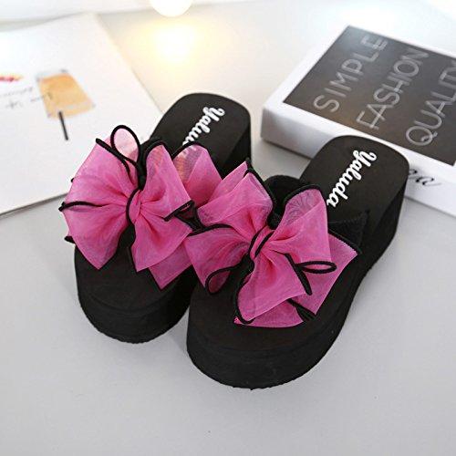 Sommer koreanische Version des Flip Flops weiblich Bogen Hang mit rutschfeste Plattform hochhackigen Schuhe clip Füße mode Sandalen und Hausschuhe weiblich, 37 Plus size, schwarz high-heeled + Zhu Hongdie