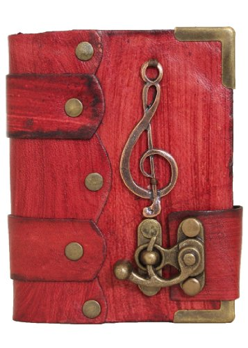 handmade-music-note-pendant-on-a-red-leather-journal-with-lock-diary-sketchbook-leatherbound-