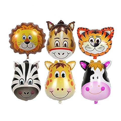 NUOLUX 6pcs Cute Animal Aluminium Foil Balloons Creative Birthday Party Decoration Supplies