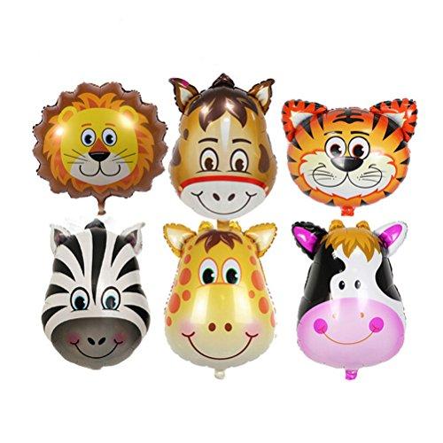Toymytoy palloncini di animali palloncini di alluminio testa di animali gonfiabile (6pcs)