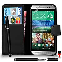 HTC One M9 Premium Leather Black Wallet Flip Case Cover Pouch + 2 IN 1 Ball Pen Touch Stylus Pen + RED 2 IN 1 Dust Stopper + Screen Protector & Polishing Cloth SVL6 BY SHUKANŽ, (WALLET BLACK)