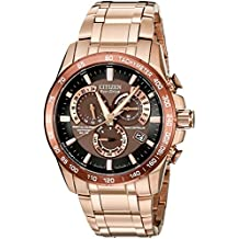 Citizen Watch AT4106-52X - Reloj analógico de cuarzo para hombre, correa de acero inoxidable chapado en oro rosa color oro rosa