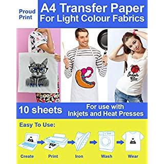 A4 Iron on Transfer Paper 10 Sheets 170gsm high Absorbency Rate Creates Permanent Bond with Ink. Perfect for White/Light T-Shirts. Lasts Over 50 Washes. Elastic Polymer Layer Prevents Cracking.