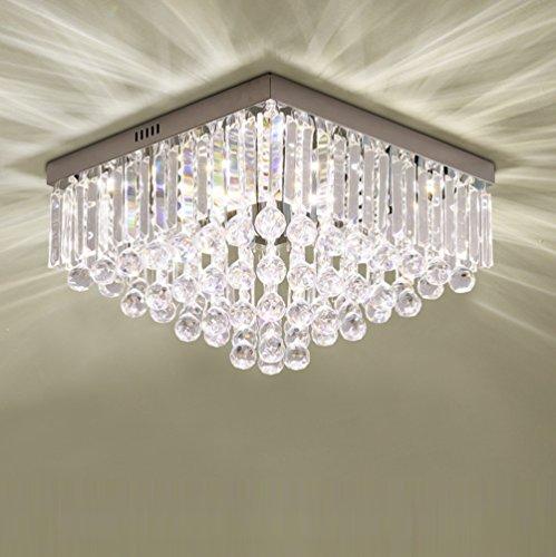 5W LED Kristall Deckenleuchte Dimmbar Platz Deckenlampe mit einstellbarer Farbtemperatur 40*40*25cm Decken fluter mit LED-Chips Wohnzimmer Kristalllampen mit Metall-Chassis Energiesparlampen 230V
