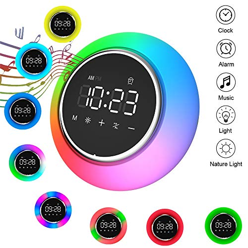 Drahtlose Bluetooth-Speaker, Mini Portable Clock Alarm Schlaf Wake Light (Sounds Clock Schlaf Alarm)