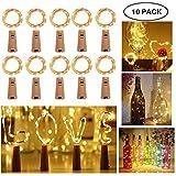 [10 Pezzi] Luci per Bottiglia per Natalizie, Yompz 2M 20 LED Luci di Stringa di Natale, Tappo del Vino Bottiglia Luci per Giardino,Festa Natale,Matrimonio[Bianco Caldo][Efficienza Energetica A+++]