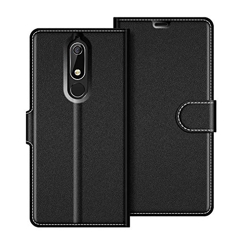 COODIO Nokia 5 2018 Hülle Leder, Nokia 5.1 Lederhülle Ledertasche Wallet Handyhülle Tasche Schutzhülle mit Magnetverschluss/Kartenfächer für Nokia 5.1 / Nokia 5 2018, Schwarz