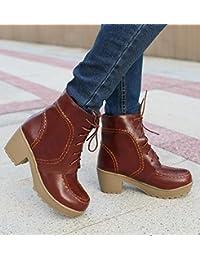 &ZHOU Botas otoño y del invierno botas cortas mujeres adultas 'cargadores de Martin Knight botas a31 , brown , 39