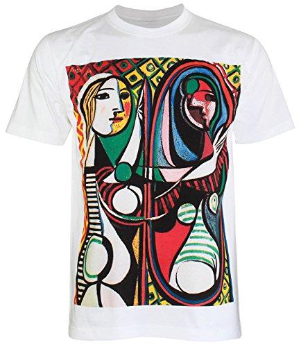 PALLAS Men's Pable Picasso Art Print T Shirt -PA277 White