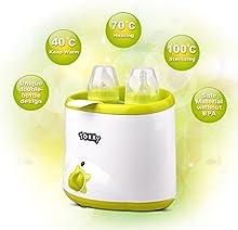 Calientabiberones TOKKY® Calienta Biberones y Estelizador para Calentar y Mantener Los Alimentos Calientes Calentador de Leche ,Color Verde y Blanco