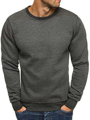 OZONEE Herren Sweatshirt Langarmshirt Pullover Warm Basic J. STYLE 2001-10 XL ANTHRAZIT