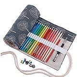 Amoyie - Tela wrap con perline, cassa del supporto di matita viag portamatite arrorolabile per 48 matite colorate, Borse grigio