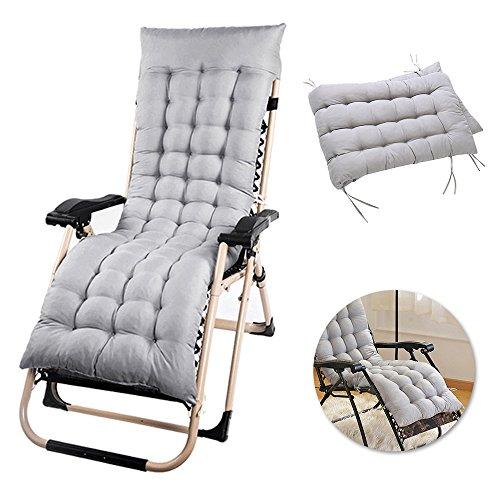 Seebesteu cuscino imbottito per sedia a sdraio poltrona sdraio relax sedia prendisole panca sedia da giardino balcone 153x53x7cm (grigio)