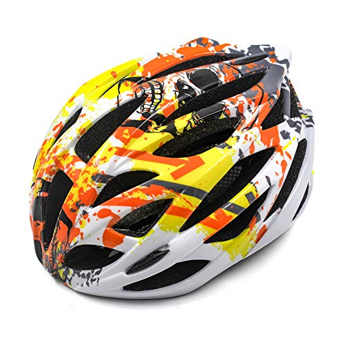 AZZSD Funkelnder Camouflage Helm Fahrradhelm Rennrad Mountainbike Helm Schutzhelm Fahrradausrüstung Herren- und Damenhelme (Orange)