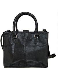 Navshi Black Finest Italian Leather Hand-Held Bag For Women