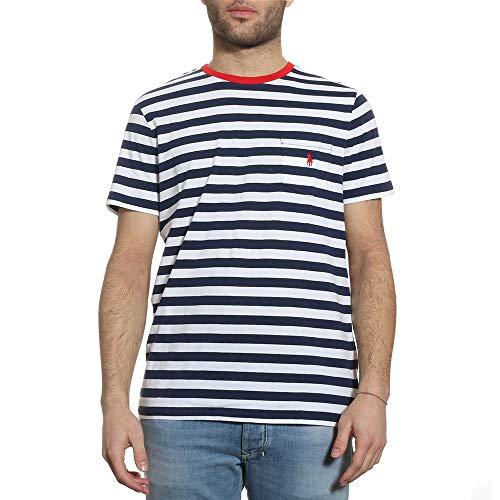 Ralph Lauren Mod. 710740871 Blauw Gestreept Heren T-Shirt Met Ronde Hals M