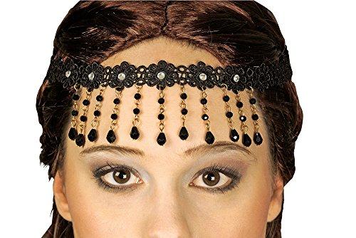 Stirnschmuck mit Spitze und Kette Schwarz - Schönes Stirnband für orientalische Kostüme oder Prinzessin zu Karneval oder Mottoparty