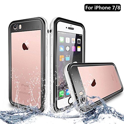 NewTsie iPhone 7 / iPhone 8 Wasserdicht Stoßfest Hülle, IP68 Zertifiziert Schutzhülle Staubdicht mit Eingebautem Displayschutzfolie für iPhone 7/8 4.7 inch (T-Weiß)