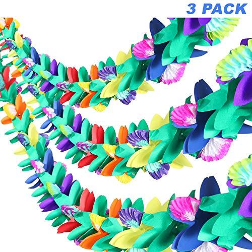 Dschungel Party Kostüm Einfach - Tropische Girlande im 3er Set - Bunte Hawaii Blumenkette aus Seidenpapier - Hawaii-Deko Blumen-Girlanden, 3m Luau Girlanden für Dschungel Motto Party Dekoration, Geburtstag Festival Hochzeit