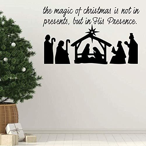 Die Magie von Weihnachten ist nicht in präsentiert Urlaub Vinyl Wall Decal für Wohnzimmer Krippe Weihnachtsdekoration Aufkleber andere Farben 70x42 cm -