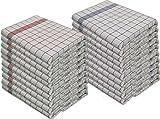 Lot-de-10-torchons-en-100-coton-Lavables--95C-Rsistent--la-cuisson-Rouge-et-Bleu-50-x-70-cm