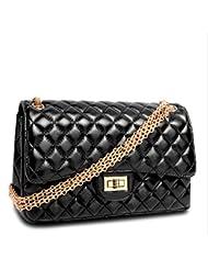 X&L Mujeres de enlace cadena bolsa moda zalea hombro bandolera , black (gold chain)