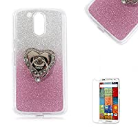 Motorola Moto G4/G4 Plus Case [with Free Screen Protector], Funyye Soft Silicone Gel TPU Ultra Thin Slim Glitter Pink Gradual Colour Changing With Love Hearts Ring Holder Protective Rubber Bumper Case Cover Shell for Motorola Moto G4/G4 Plus