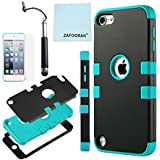iPod Touch 5th 6th Generation Case, iPod Touch 5/6 Case Genuine ZAFOORAH Hybrid Shockproof Hard Defender 3 Layers with 3 Bonus items Stylus, Screen Protector, Microfiber Cloth (Double Clip - 3 Layers - Black/Light Blue)