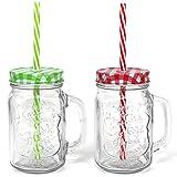 COM-FOUR® 2x Glas mit Strohhalm und Deckel, Trinkgläser in Einmachglas-Optik mit Henkel, ca. 480 ml (2er Mix)