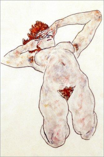 Poster 20 x 30 cm: Akt von Egon Schiele / Bridgeman Images - hochwertiger Kunstdruck, neues Kunstposter