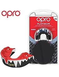 OPRO Self-Fit Platinum Protector bucal - para, Rugby, Hockey, Artes Marciales Mixtas, y Otros Deportes de Contacto (Negro/Rojo/Blanco)