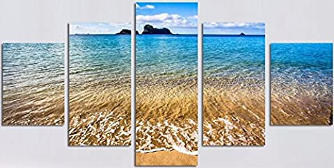 OBELLA New Top Wall Art Canvas Prints 5 Pieces || Sea Wave Landscape || Modern Contemporary Posters Oil Paintings Prints and Pictures Photo Image Wall Art Prints on Canvas Painting for Home Bedroom Living Room Wall Decor Christmas Gifts Decoration - Frameless