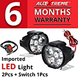 #2: AllExtreme EX6FS2P SHILAN Imported 6 LED Fog Light Mirror Mount Driving Spot Head Lamp with Switch for Motorcycle and Cars (10W, White, 2 PCS)