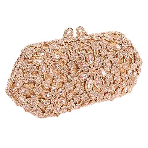 Bonjanvye Shining Blossoming Flower Purses Crystal Handbags for Girls Rose Gold Rose gold