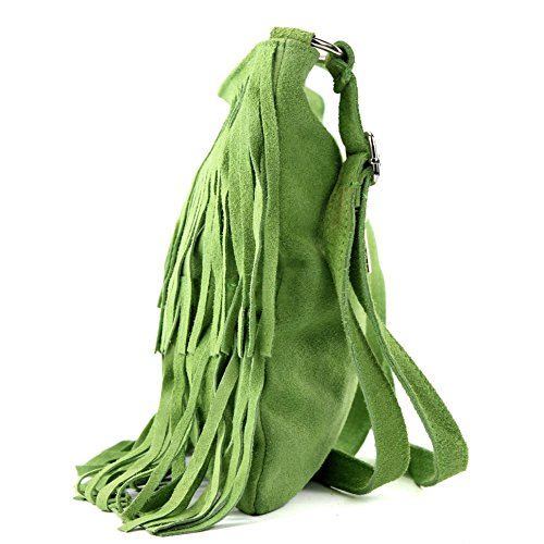 Borsa a mano borsa a tracolla shopping bag donna in vera pelle italiana T02 Hellgrün