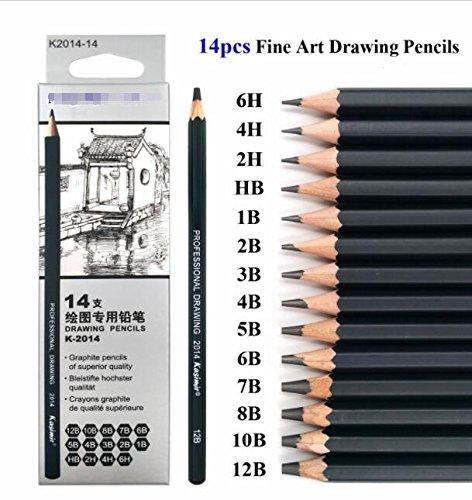 Professionelles Graphit-Bleistift-Set zum Zeichnen und Malen, 14-teilig: 2B, 10B, 8B, 7B, 6B, 5B, 4B, 3B, 2B, B, HB, 2H, 4H, 6H