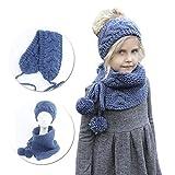 Vandot Otoño Invierno tejidos Diadema Sombreros Bufandas Chales Cofia Capucha Gorra Dos Piezas Conjuntos para Niños Niñas Chicas Chicos, Blue Azul