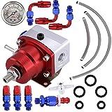 Fuel Pressure Regulator Kit, SUNWAN - Universal Adjustable Car Oil Gauge T6061 Aluminum&304 Stainless Steel, 160 Psi 6 Fitting, Red and Blue