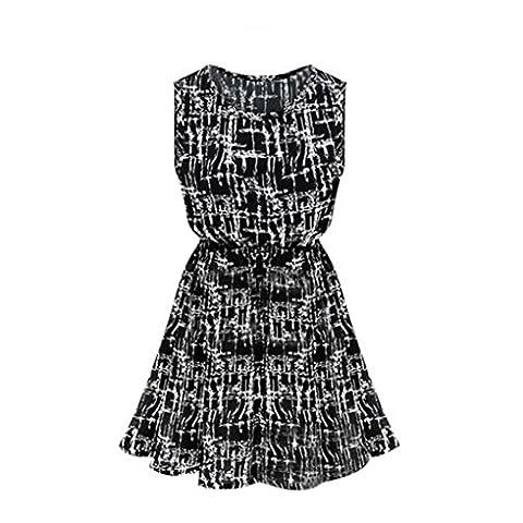 DOLDOA Damen-Frauen Sleeveless O-Ausschnitt-Kleid gedrucktes Chiffon- Strand-beiläufiges Kleid (Größe: 40 Fehlschlag: 92cm / 36.2
