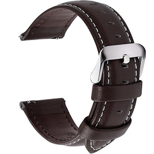 Fullmosa 12 Farben Uhrenarmband, Axus Serie Lederarmband Ersatz-Watch Armband mit Edelstahl Metall Schließe für Herren Damen 14/16/18/20/22/24mm,Dunkelbraun 22mm