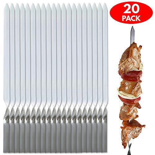 20x Edelstahl Grill-Spieße & Schaschlik-Spieße Set – Perfekte Metallspieße & Fleischspieße Zum Grillen & für Grillpartys – Ideal für Grillfleisch, Obst & Gemüse – mit Praktischem Beutel