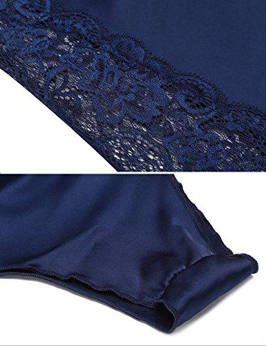 Nachthemd Seide SummerRio Satin Rückenfrei Spitze Dessous Reizwäsche nachtkleid Nachtwäsche Schlafanzüge Pyjama Set mit träger und wickeloptik Blau