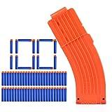 YAKOK 15er Banana Magazin Clip + 100 Stück Pfeile Patronen Darts für Nerf Modulus Regulator/N-Strike Elite/Stryfe/Retaliator/Zombie/Rebelle/Rapidstrike/Raptorstrike (Blau,Orange)