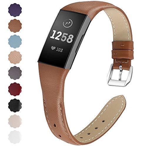 KIMILAR Armbänder Kompatibel mit Fitbit Charge 3 Armband Leder,Ersatzband Zweifarbig Band Uhrenarmband für Fitbit Charge 3 / Special Edition Fitness Tracker Damen Herren