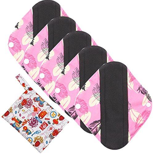 Wiederverwendbare Damenbinden aus Bambus Pads/ Damenbinden/Slipeinlagen mit Tasche für nasse Dinge, 5er-Pack super-absorbierend, von ComfortableBABY (Die Extreme Meisten Orte)
