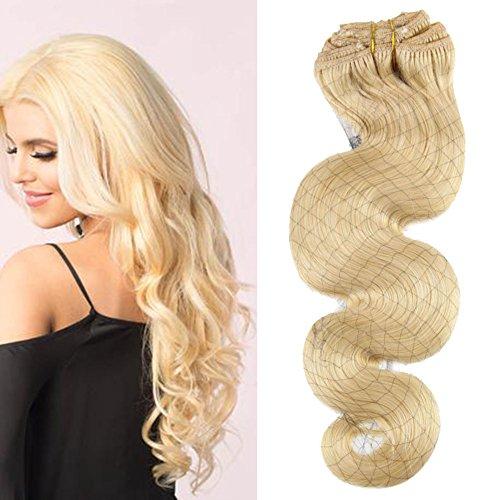 Moresoo Clip in Human Hair Extensions Gewellt 100% Brasilianisch Remy Echthaar Tressen Hair Extensions 24 Zoll 7 pcs 120g
