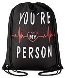 Aminata Kids - Turnbeutel für Mädchen und Damen mit You Are My Person Freunschaft You´re Grey-s Friend-s Dream Spruch Arztserie Sport-Tasche-n Gym-Bag Sport-Beutel-Tasche schwarz-er rot Weiss Herz-en