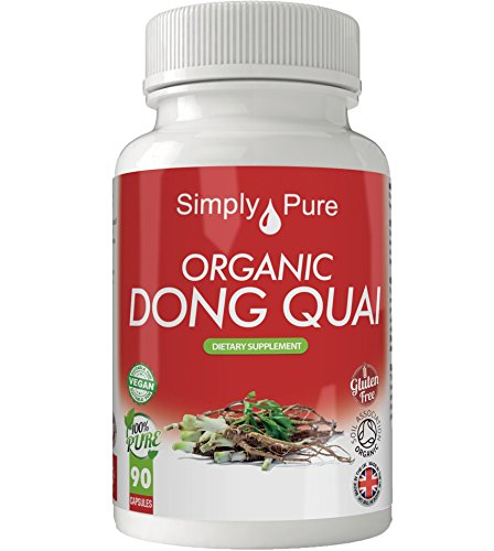 New, Organic Dong Quai 90x Capsules, 100% Natural Soil Association Certified, High Strength 500mg, Energy, Mood, Gluten Free, Vegan, Exclusive to Amazon, Simply Pure, Moneyback Guarantee. Test