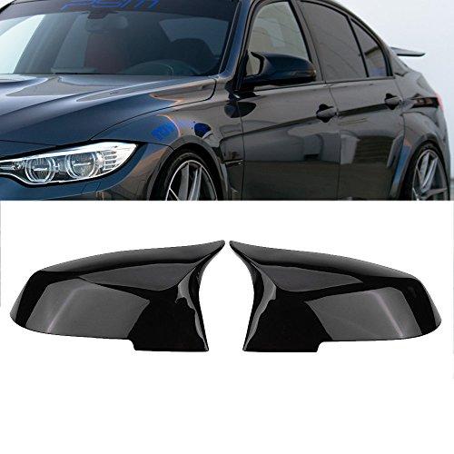 Ricoy - Calotta per specchietto retrovisore laterale, colore: nero lucido, stile M4 (confezione da 2)